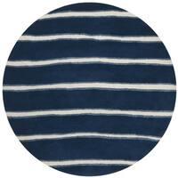 Martha Stewart by Safavieh Chalk Stripe Wrought Iron Navy Wool/ Viscose Rug - 6' Round