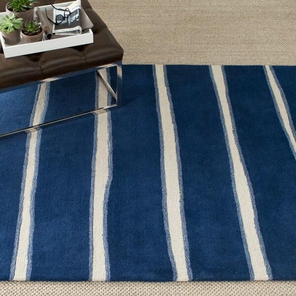 Martha Stewart by Safavieh Chalk Stripe Wrought Iron Navy Wool/ Viscose Rug - 9' x 12'