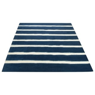 Martha Stewart Chalk Stripe Wrought Iron Navy Wool/ Viscose Rug (9' x 12')