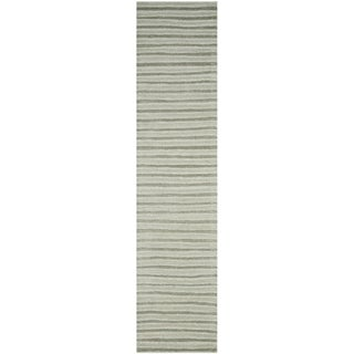 Martha Stewart Hand Drawn Stripe Nimbus Cloud Grey Wool/ Viscose Rug (2' 3 x 10')