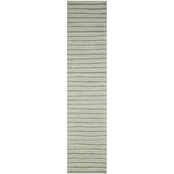 Martha Stewart by Safavieh Hand Drawn Stripe Nimbus Cloud Grey Wool/ Viscose Rug - 2' 3 x 10'
