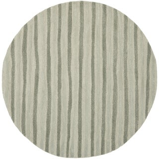 Martha Stewart Hand Drawn Stripe Nimbus Cloud Grey Wool/ Viscose Rug (6' Round)