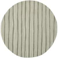 Martha Stewart by Safavieh Hand Drawn Stripe Nimbus Cloud Grey Wool/ Viscose Rug - 6' Round