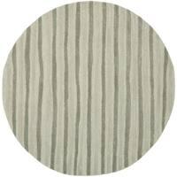Martha Stewart by Safavieh Hand Drawn Stripe Nimbus Cloud Grey Wool/ Viscose Rug - 6' x 6' Round