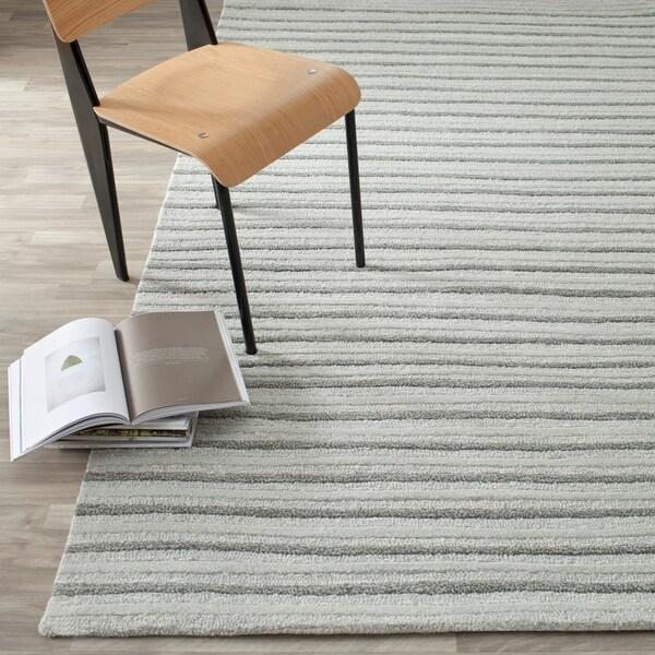 Martha Stewart by Safavieh Hand Drawn Stripe Nimbus Cloud Grey Wool/ Viscose Rug - 8' x 10'