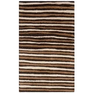 Martha Stewart by Safavieh Hand Drawn Stripe Tilled Soil Brown Wool/ Viscose Rug (2' 6 x 4' 3)