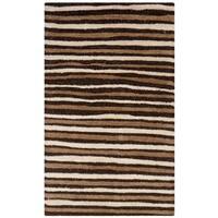 Martha Stewart by Safavieh Hand Drawn Stripe Tilled Soil Brown Wool/ Viscose Rug - 2'6 x 4'3