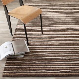 Martha Stewart Hand Drawn Stripe Tilled Soil Brown Wool/ Viscose Rug (5' x 8')