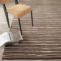 Martha Stewart by Safavieh Hand Drawn Stripe Tilled Soil Brown Wool/ Viscose Rug - 5' x 8'
