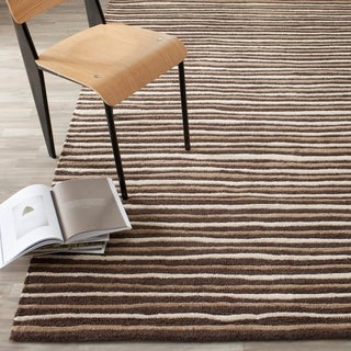 Martha Stewart Hand Drawn Stripe Tilled Soil Brown Wool/ Viscose Rug (8' x 10')