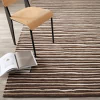 Martha Stewart by Safavieh Hand Drawn Stripe Tilled Soil Brown Wool/ Viscose Rug - 8' x 10'