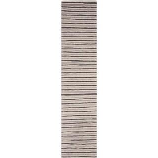 Martha Stewart by Safavieh Hand Drawn Stripe Wampum Purple Wool/ Viscose Rug (2' 3 x 10')