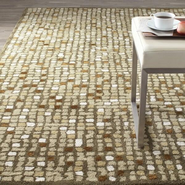 Martha Stewart by Safavieh Mosaic Oolong Tea Green Wool/ Viscose Rug - 9'6 x 13'6