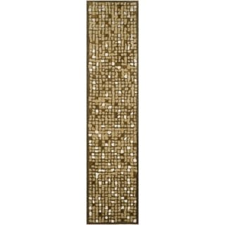 Martha Stewart Mosaic Oolong Tea Green Wool/ Viscose Rug (2' 3 x 10')