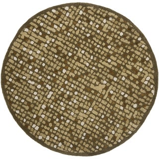 Martha Stewart Mosaic Oolong Tea Green Wool/ Viscose Rug (6' Round)