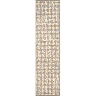 Martha Stewart by Safavieh Mosaic Hickory/ Beige Wool/ Viscose Rug (2' 6 x 10')