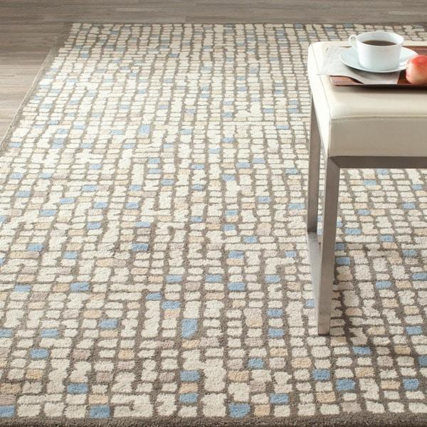 Martha Stewart by Safavieh Mosaic Hickory/ Beige Wool/ Viscose Rug (5' x 8')