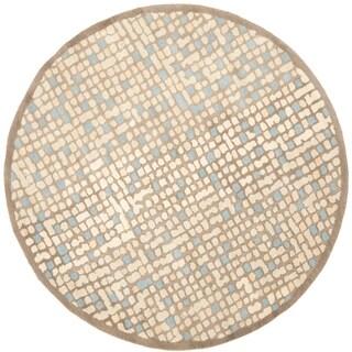Martha Stewart by Safavieh Mosaic Hickory/ Beige Wool/ Viscose Rug - 6' Round