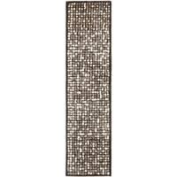 Martha Stewart by Safavieh Mosaic Wampum Purple Wool/ Viscose Rug - 2' 6 x 10'