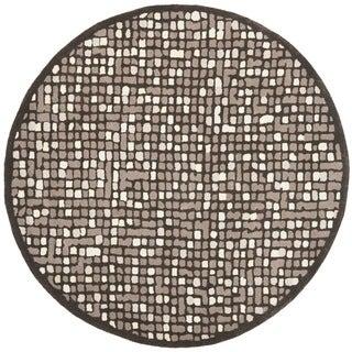 Martha Stewart Mosaic Wampum Purple Wool/ Viscose Rug (6' Round)
