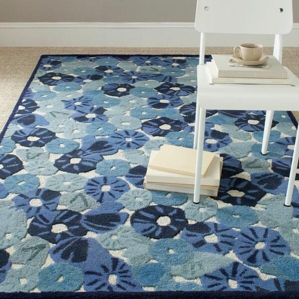 Martha Stewart by Safavieh Poppy Field Azurite Blue Wool/ Viscose Rug - 9'6 x 13'6