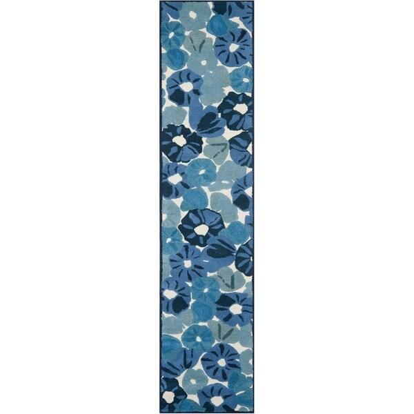 """Martha Stewart by Safavieh Poppy Field Azurite Blue Wool/ Viscose Rug - 2'3"""" x 10'"""