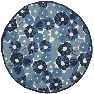 Martha Stewart Poppy Field Azurite Blue Wool/ Viscose Rug (6' Round)