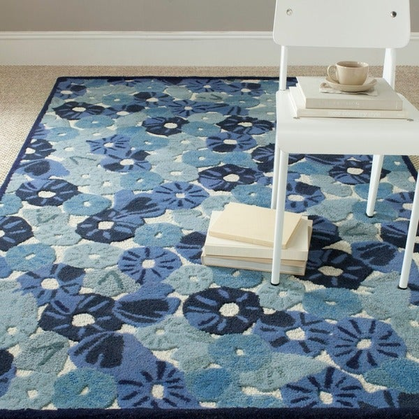 Martha Stewart by Safavieh Poppy Field Azurite Blue Wool/ Viscose Rug (8' x 10')