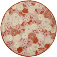 Martha Stewart by Safavieh Poppy Field Cayenne Red Wool/ Viscose Rug - 6' Round