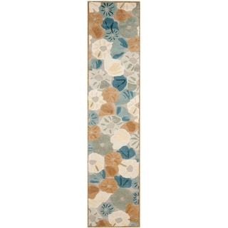 Martha Stewart by Safavieh Poppy Fieldecornucopia Beige Wool/ Viscose Rug (2' 3 x 10')