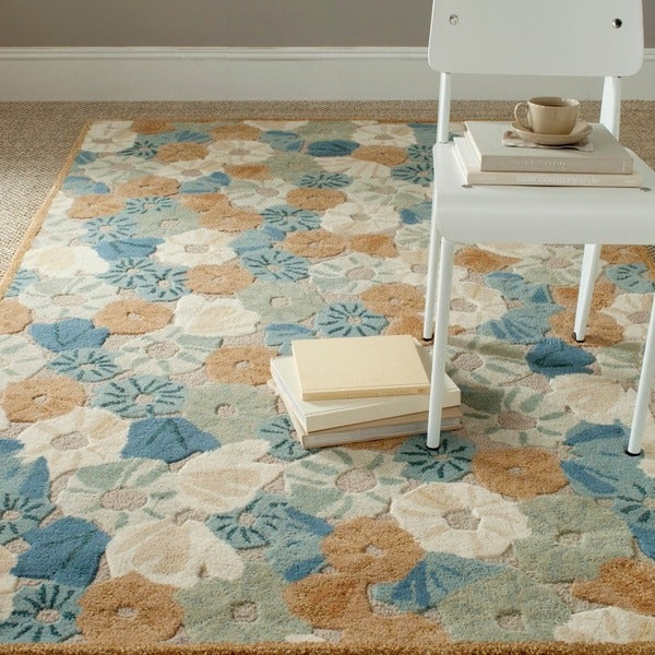Martha Stewart by Safavieh Poppy Fieldecornucopia Beige Wool/ Viscose Rug (4' x 6')