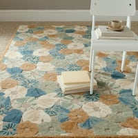 Martha Stewart by Safavieh Poppy Field Cornucopia Beige Wool and Viscose Rug - 5' x 8'