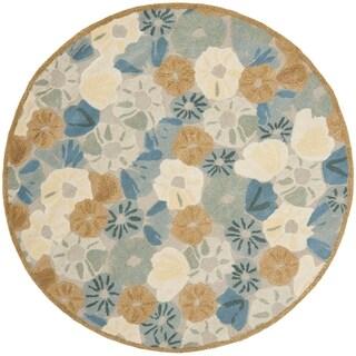 Martha Stewart by Safavieh Poppy Fieldecornucopia Beige Wool/ Viscose Rug - 6' Round