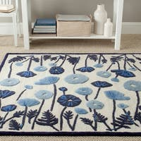 Martha Stewart by Safavieh Poppy Glossary Azurite Blue Wool/ Viscose Rug - 9'6 x 13'6