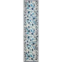"Martha Stewart by Safavieh Poppy Glossary Azurite Blue Wool/ Viscose Rug - 2'3"" x 10'"