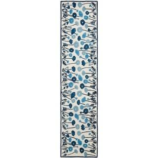 Martha Stewart by Safavieh Poppy Glossary Azurite Blue Wool/ Viscose Rug (2' 3 x 10')