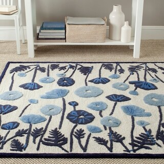 Martha Stewart by Safavieh Poppy Glossary Azurite Blue Wool/ Viscose Rug (4' x 6')