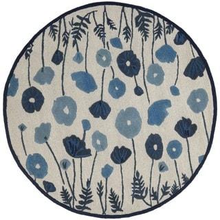 Martha Stewart Poppy Glossary Azurite Blue Wool/ Viscose Rug (6' Round)