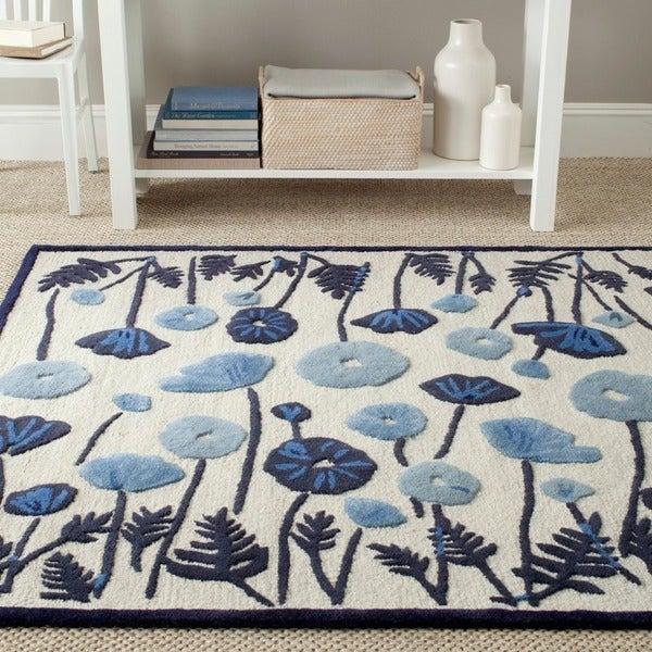Martha Stewart by Safavieh Poppy Glossary Azurite Blue Wool/ Viscose Rug - 8' x 10'