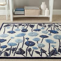 Martha Stewart by Safavieh Poppy Glossary Azurite Blue Wool/ Viscose Rug - 8' x 10'