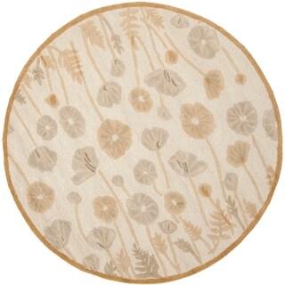 Martha Stewart by Safavieh Poppy Glossary Nutshell/ Brown Wool/ Viscose Rug (6' Round)