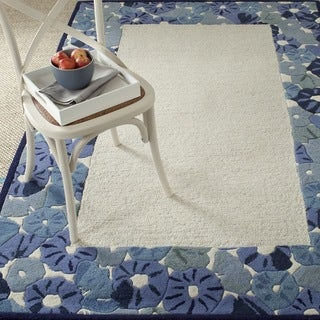 Martha Stewart by Safavieh Poppy Border Azurite Blue Wool/ Viscose Rug (9' 6 x 13' 6)