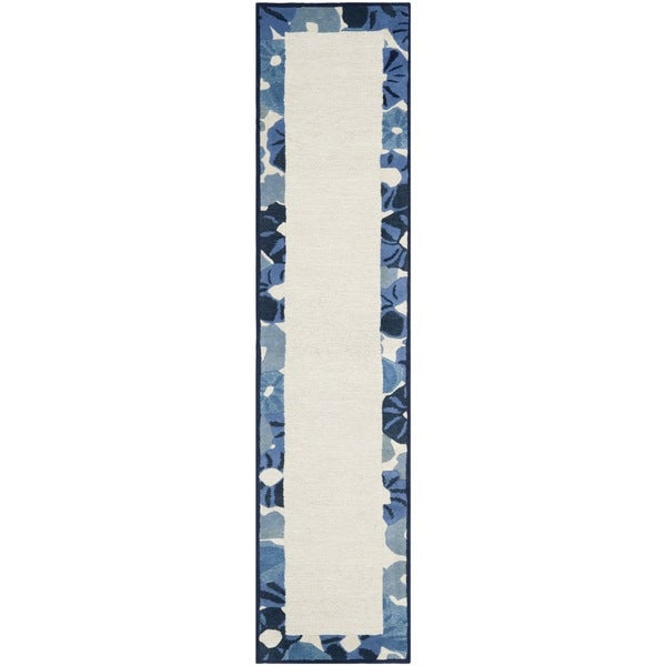 Martha Stewart by Safavieh Poppy Border Azurite Blue Wool/ Viscose Rug (2' 3 x 10')