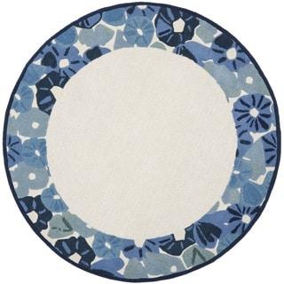 Martha Stewart by Safavieh Poppy Border Azurite Blue Wool/ Viscose Rug (6' Round)