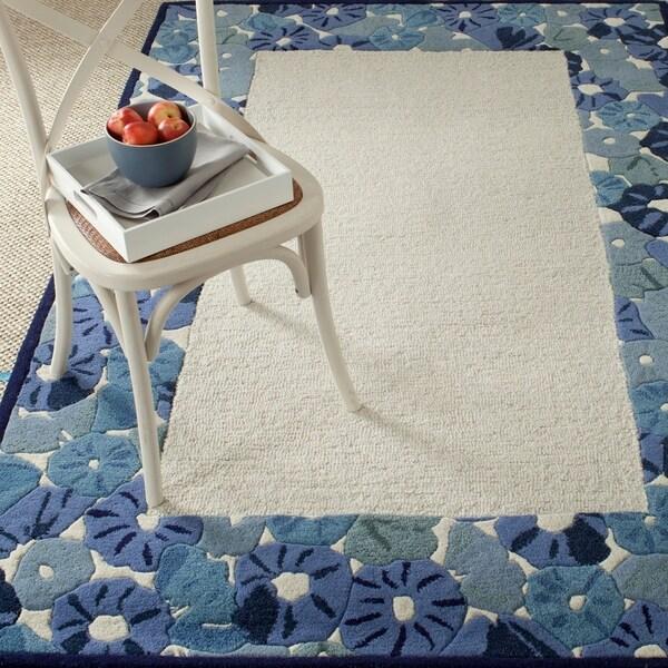 Martha Stewart by Safavieh Poppy Border Azurite Blue Wool/ Viscose Rug - 8' x 10'