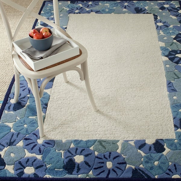 Martha Stewart by Safavieh Poppy Border Azurite Blue Wool/ Viscose Rug - 9' x 12'