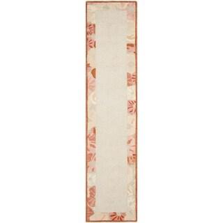 Martha Stewart Poppy Border Cayenne Red Wool/ Viscose Rug (2' 3 x 10')
