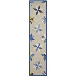 Martha Stewart Lemoyne Star Azurite Blue Wool Rug (2' 3 x 10')