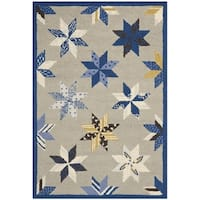 Martha Stewart by Safavieh Lemoyne Star Azurite Blue Wool Rug - 2' 6 x 4' 3