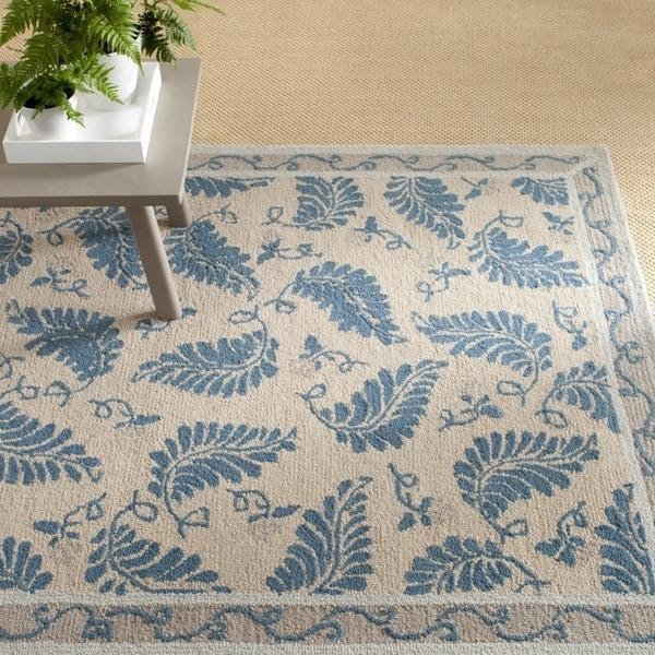 Martha Stewart by Safavieh Fern Frolic Plumage Blue Wool Rug - 9' 6 x 13' 6